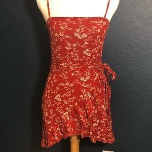 Zara red wrap dress with ruffled edge